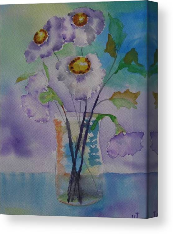 Floral Watercolor Canvas Print featuring the painting Daisy by Warren Thompson