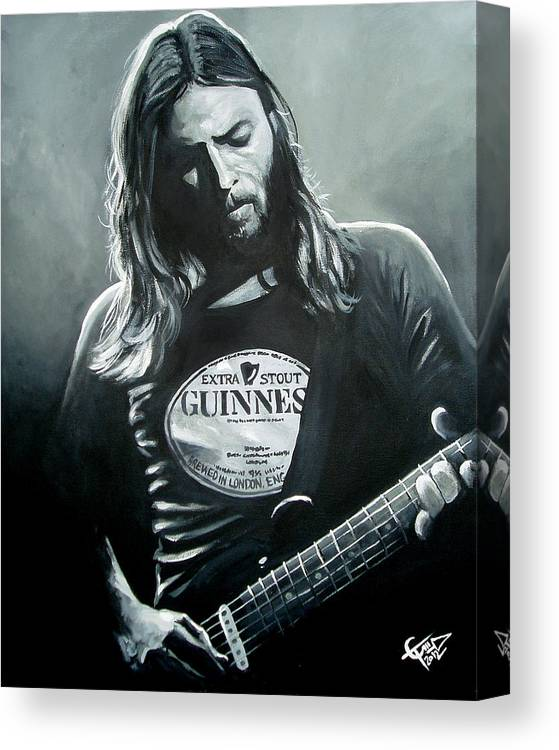 David Gilmore Canvas Print featuring the painting David Gilmour by Tom Carlton