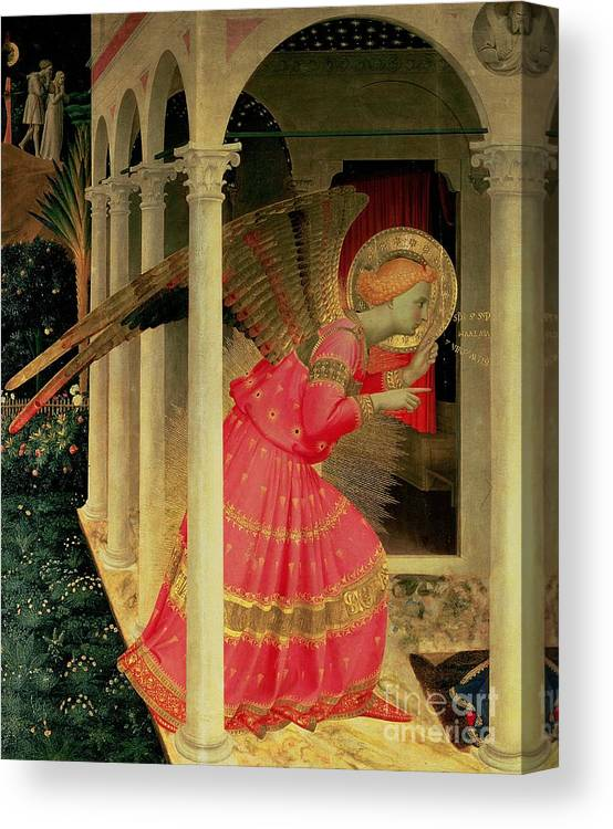 Arcade Canvas Print featuring the painting Detail From The Annunciation Showing The Angel Gabriel by Fra Angelico
