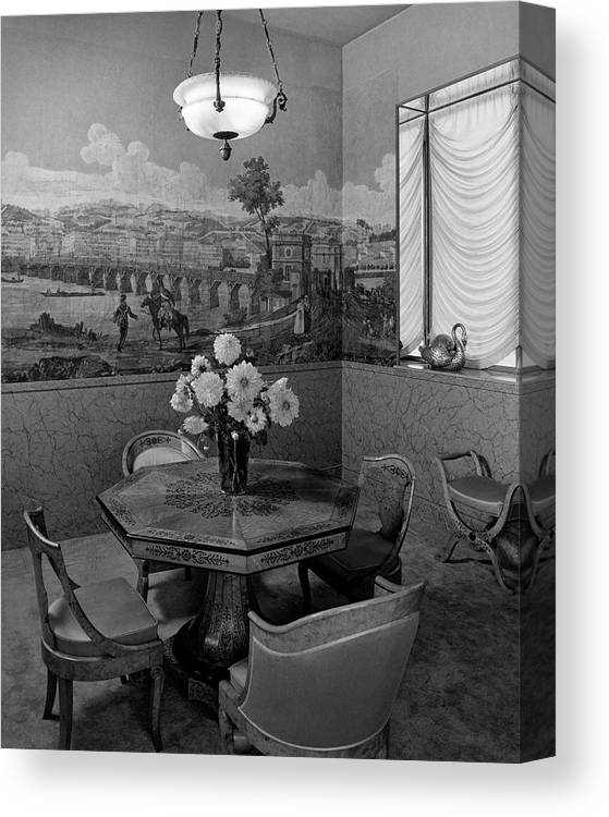 Architecture Canvas Print featuring the photograph Dining Room In Helena Rubinstein's Home by F. S. Lincoln