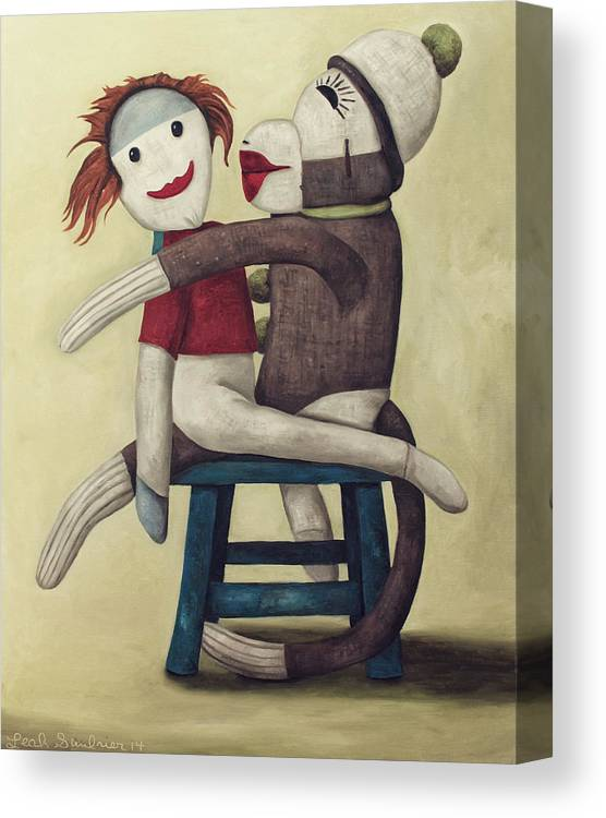 Doll Canvas Print featuring the painting Dirty Socks 5 Edit 2 by Leah Saulnier The Painting Maniac