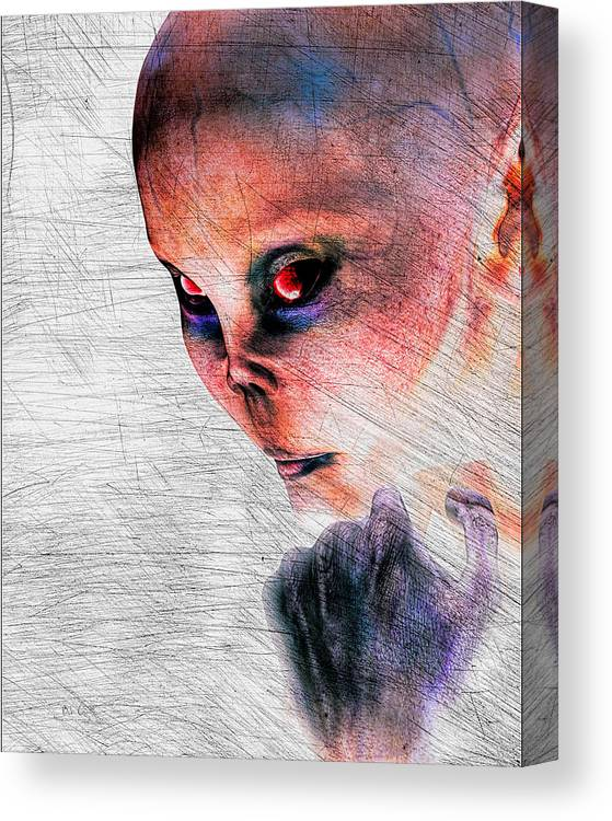 Alien Abduction Canvas Print featuring the digital art Female Alien Portrait by Bob Orsillo