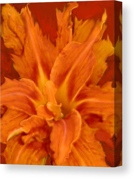 Lily Canvas Print featuring the painting Fire Lily by Anne Cameron Cutri