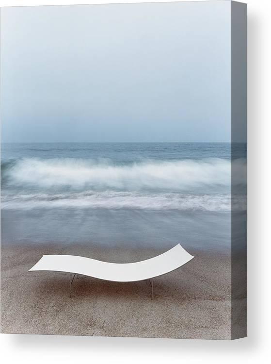 Nobody Canvas Print featuring the photograph Flexy Batyline Mesh Curve Chaise On Malibu Beach by Simon Watson