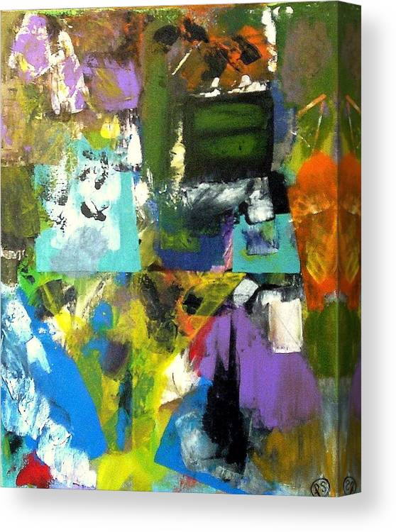 Canvas Print featuring the painting Flying Upside Down by Paul Sclafani