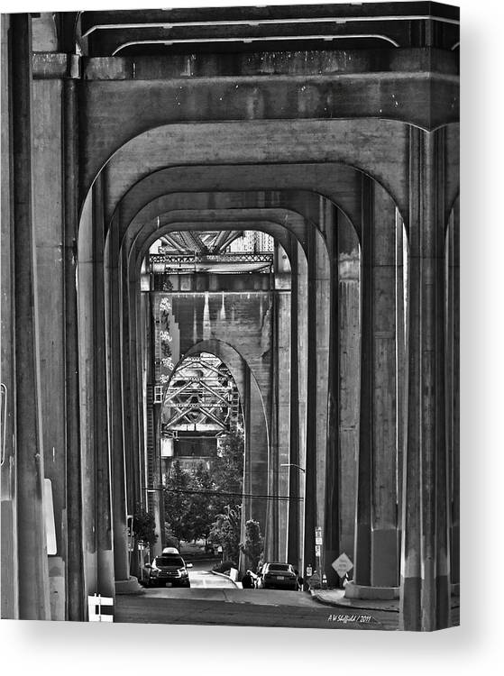 Seattle Canvas Print featuring the photograph Hall Of Giants - Beneath The Aurora Bridge by Allen Sheffield