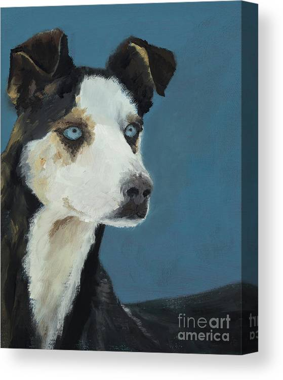 Husky Canvas Print featuring the painting Happines Is... Shadow by Alyson Kinkade