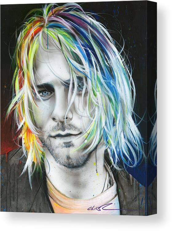 Kurt Cobain Canvas Print featuring the painting In Debt For My Thirst by Christian Chapman Art