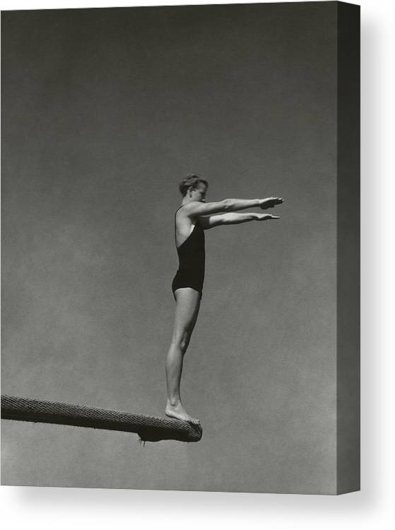 Exterior Canvas Print featuring the photograph Katherine Rawls Getting Ready To Dive by Edward Steichen