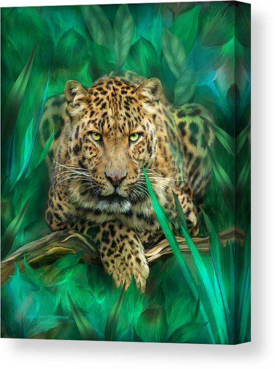 Leopard Canvas Print featuring the mixed media Leopard - Spirit Of Empowerment by Carol Cavalaris