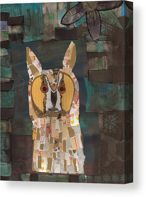 Owl Canvas Print featuring the mixed media Long Eared Owl by Brian Fuchs