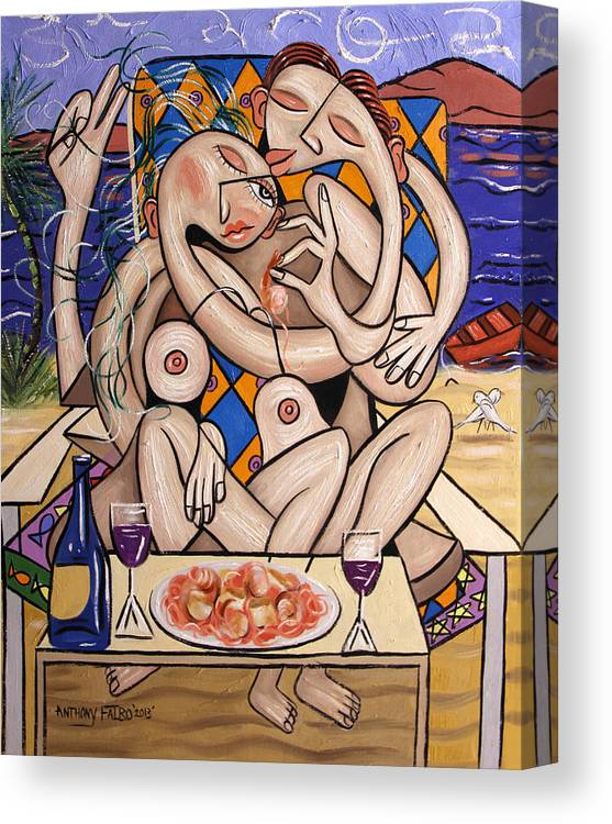 Love On A Deserted Island Shrimp Scallops And Linguine Canvas Print featuring the painting Love On A Deserted Island Shrimp Scallops And Linguine by Anthony Falbo