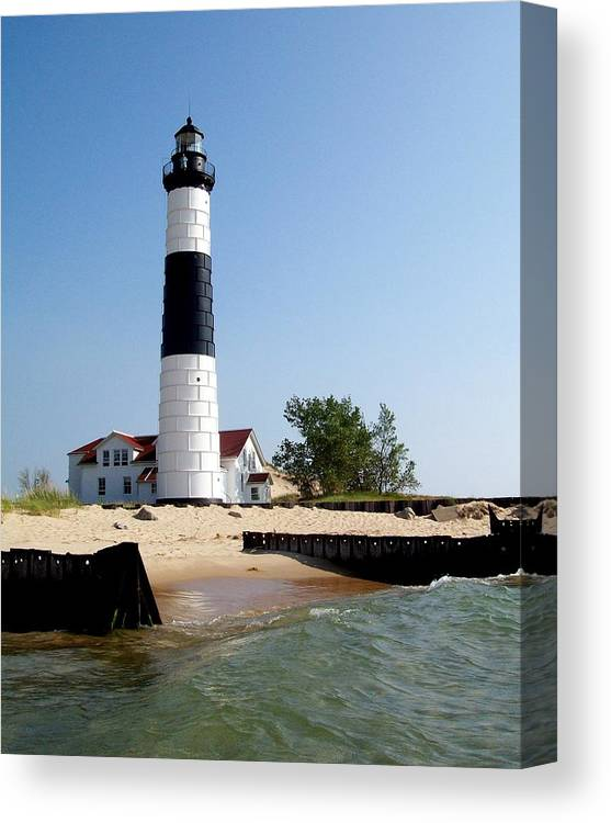 Lighthouse Canvas Print featuring the photograph Ludington Michigan's Big Sable Lighthouse by Michelle Calkins