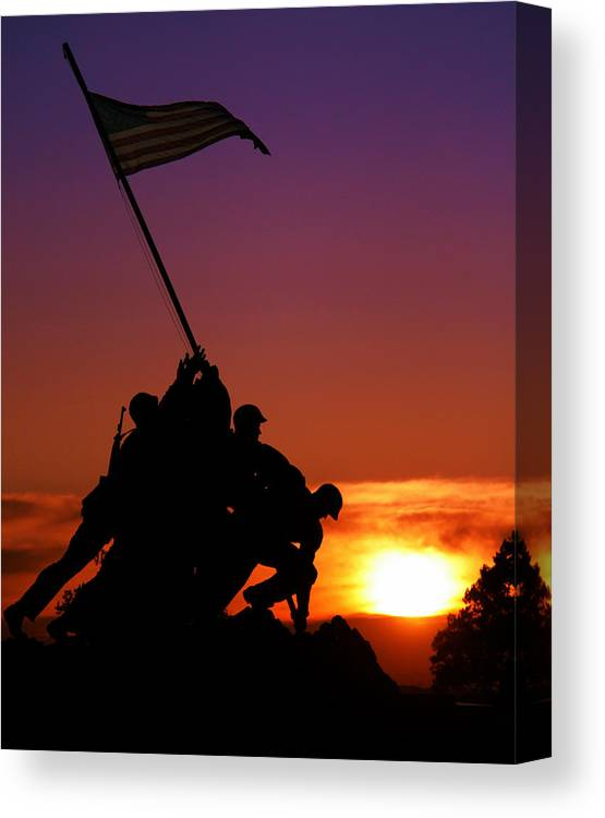 Marine Corps Memorial Canvas Print featuring the photograph Marine Corps Memorial by Mitch Cat