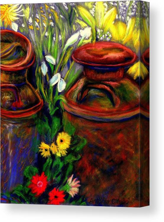 Milk Cans Canvas Print featuring the pastel Milk Cans At Flower Show Sold by Antonia Citrino