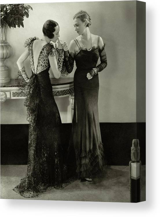 Indoors Canvas Print featuring the photograph Models In Evening Gowns by Edward Steichen