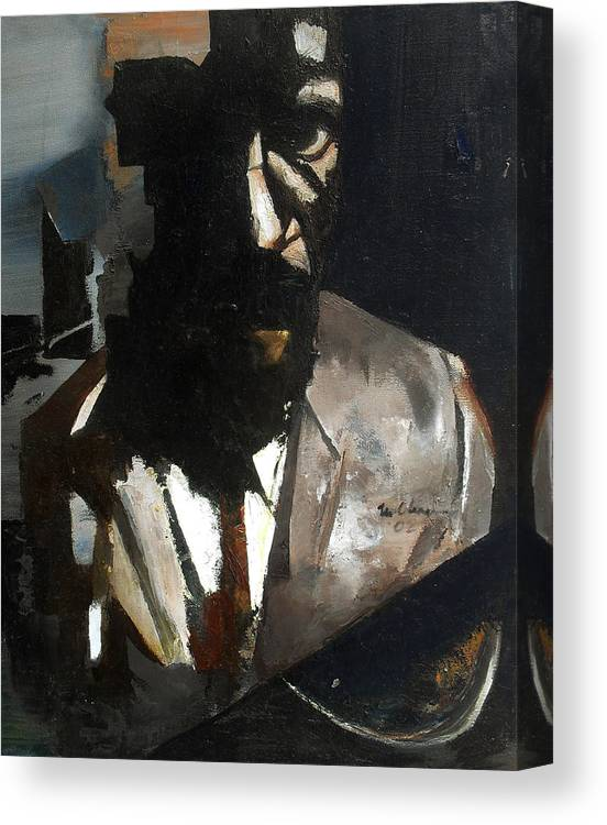 Thelonious Monk Jazz Piano Portrait Canvas Print featuring the painting Monk by Martel Chapman