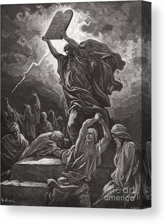 Tables Canvas Print featuring the painting Moses Breaking The Tablets Of The Law by Gustave Dore