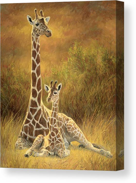 Giraffe Canvas Print featuring the painting Mother And Son by Lucie Bilodeau