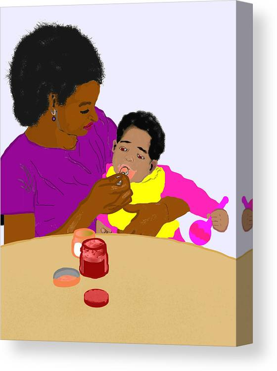 Mother Canvas Print featuring the painting Mother Feeding Her Baby by Pharris Art