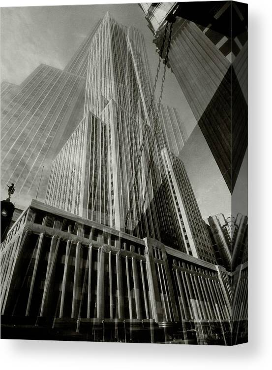 Architecture Canvas Print featuring the photograph Multiple Exposure Of The Empire State Building by Edward Steichen