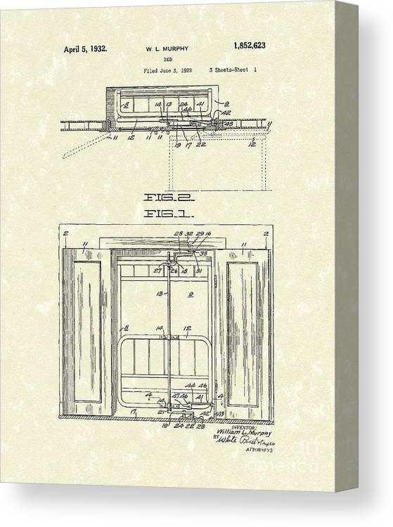 Murphy Canvas Print featuring the drawing Murphy Bed 1932 Patent Art by Prior Art Design