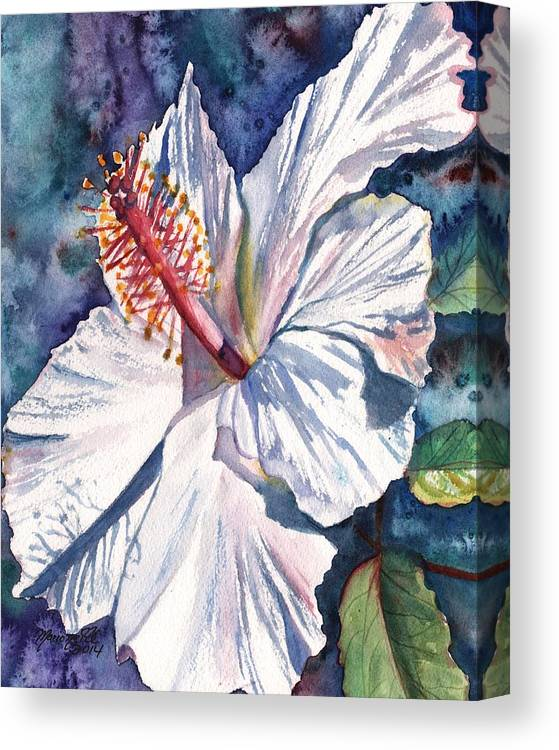 Hibiscus Canvas Print featuring the painting Native Hawaiian Hibiscus by Marionette Taboniar