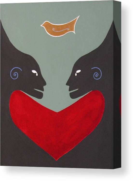 Kiss - Love - Forever - Valentine - Valentine's Day - Anniversary - Engagement - Marriage - Soulmates - Aura Of Two Lovers - Love Meditation - Tender Love - Eternity Embrace - Two Beings In Love - Amour Eternel - St Valentin - Gaga For Love - Amour Gaga - Twilight Spirits Canvas Print featuring the painting One Love One Heart by Elle Nicolai