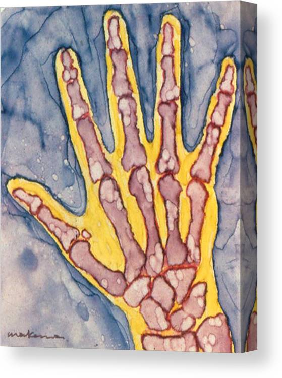 Hand Canvas Print featuring the painting Opposing Thumb by Carrie MaKenna