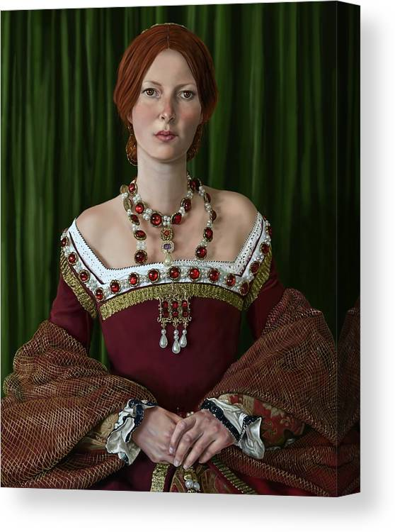Tudor Canvas Print featuring the digital art Portrait Of A Tudor Lady by Mark Satchwill