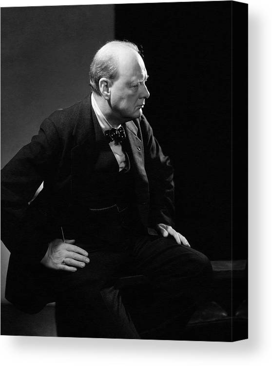 PRIME MINISTER WINSTON CHURCHILL CAMPAIGN POSTER PAINTING ART REAL CANVAS PRINT