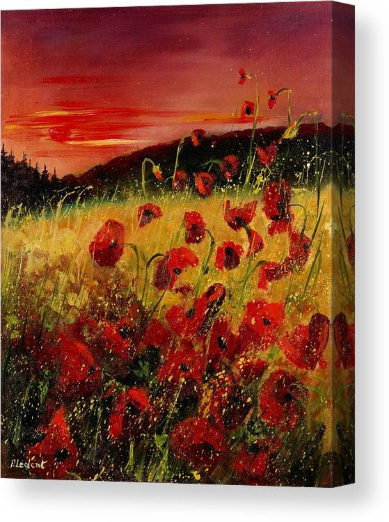 Poppies Canvas Print featuring the painting Red Poppies And Sunset by Pol Ledent