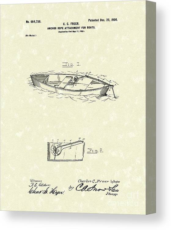 Freer Canvas Print featuring the drawing Rope Attachment 1900 Patent Art by Prior Art Design