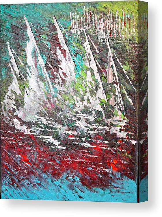Sailboats Canvas Print featuring the painting Sailing Together - Sold by George Riney