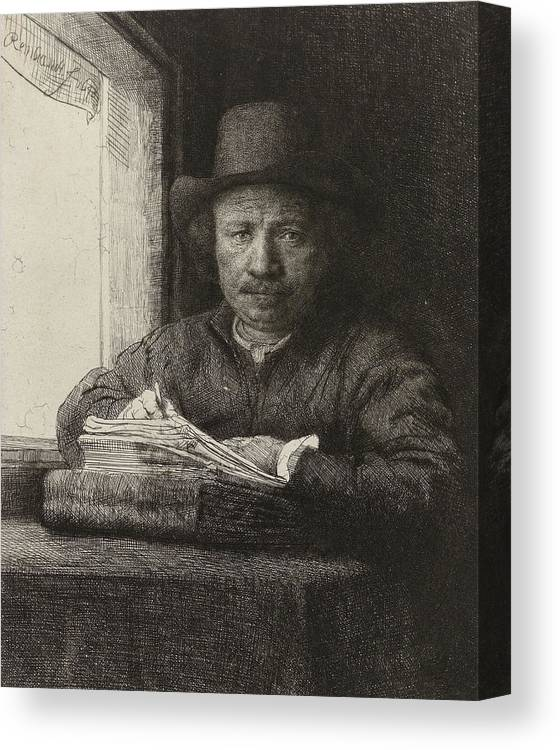 Black And White Canvas Print featuring the drawing Self-portrait Etching At A Window by Rembrandt