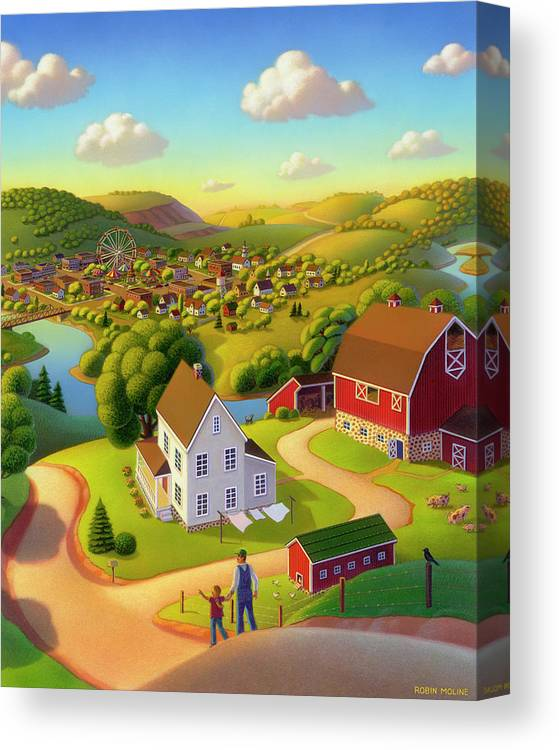 Summer On The Farm Canvas Print featuring the painting Signs And Wonders by Robin Moline