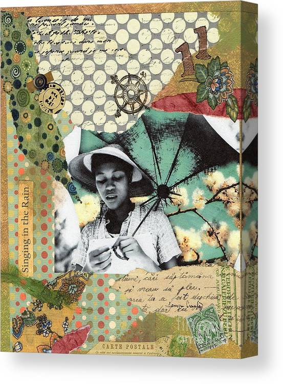 Mixed Media Canvas Print featuring the painting Singing In The Rain by Tamyra Crossley