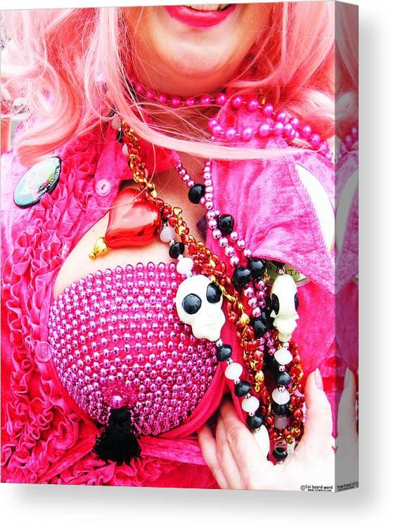Pink Canvas Print featuring the photograph Spanish Mardi Gras Parade Finery Louisiana by Lizi Beard-Ward
