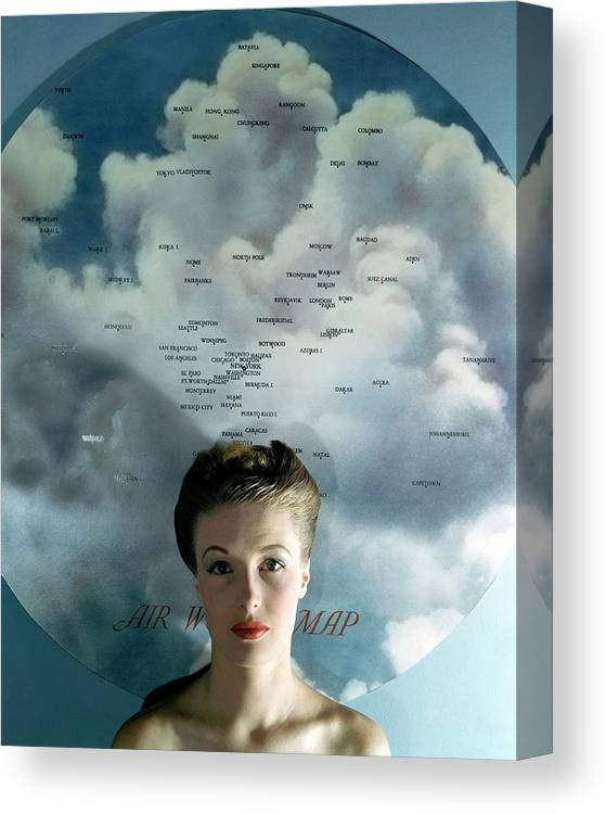 Fashion Canvas Print featuring the photograph Susan Shaw In Front Of An Azimuthal Map by John Rawlings