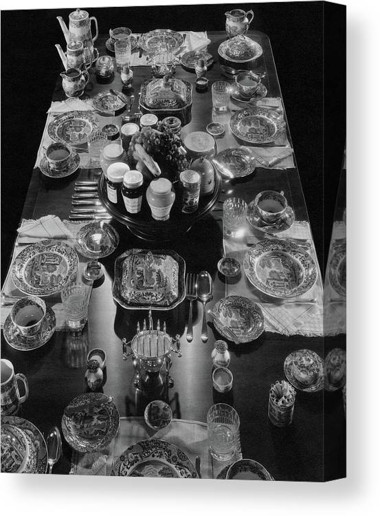 Interior Canvas Print featuring the photograph Table Settings On Dining Table by The 3