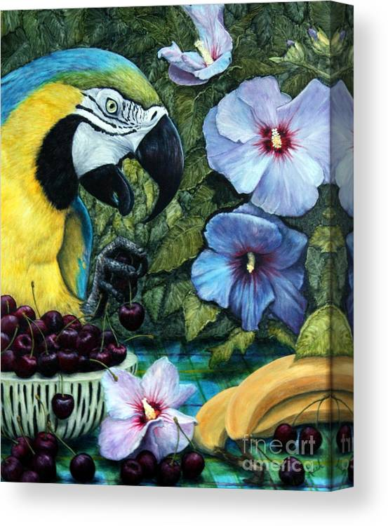Macaw Canvas Print featuring the painting Tapestry by Joey Nash