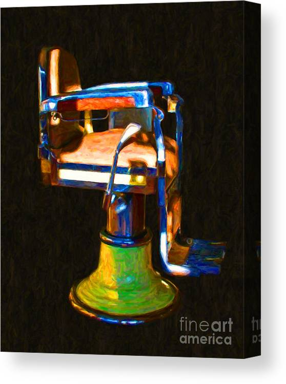 Barber Canvas Print featuring the photograph Vintage Barber Chair - 20130119 - V1 by Wingsdomain Art and Photography