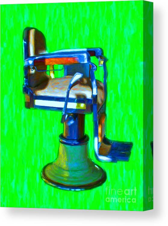 Barber Canvas Print featuring the photograph Vintage Barber Chair - 20130119 - V2 by Wingsdomain Art and Photography