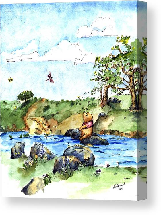 Winnie The Pooh Illustration Canvas Print featuring the painting Imagining The Hunny After E H Shepard by Maria Hunt