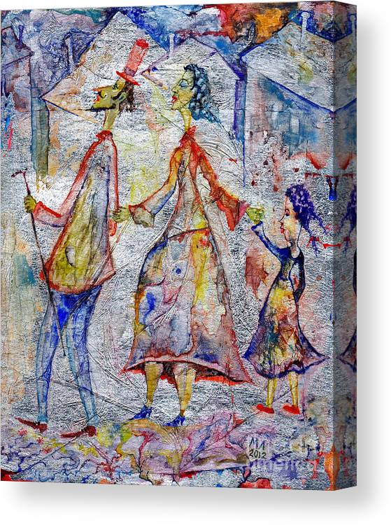 Milen Litchkov Canvas Print featuring the drawing Family by Milen Litchkov