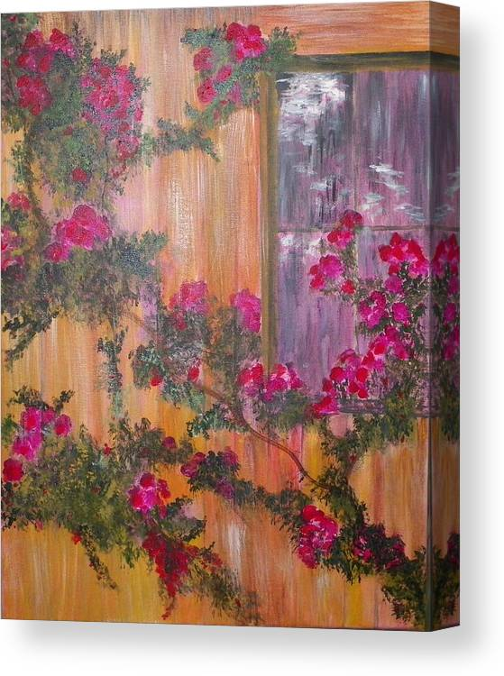 Pink Roses Canvas Print featuring the painting Climbing Rose Vine by Cheryl Stallings