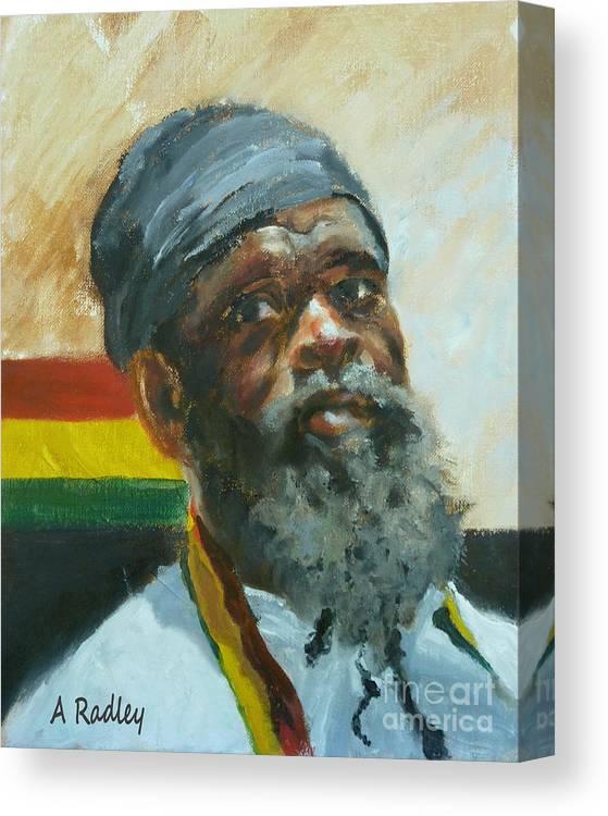Rasta Rastafari Rastafarian Ethiopia Eithiopian Jamaica Jamaican Christian Religious Portrait Canvas Print featuring the painting Homeward by Ann Radley
