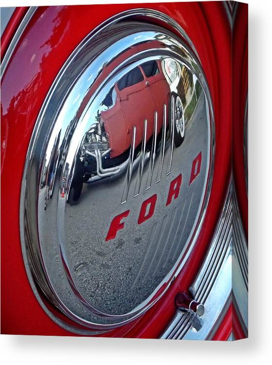 Ford Canvas Print featuring the digital art Hub Cap Reflections by Jim Buda