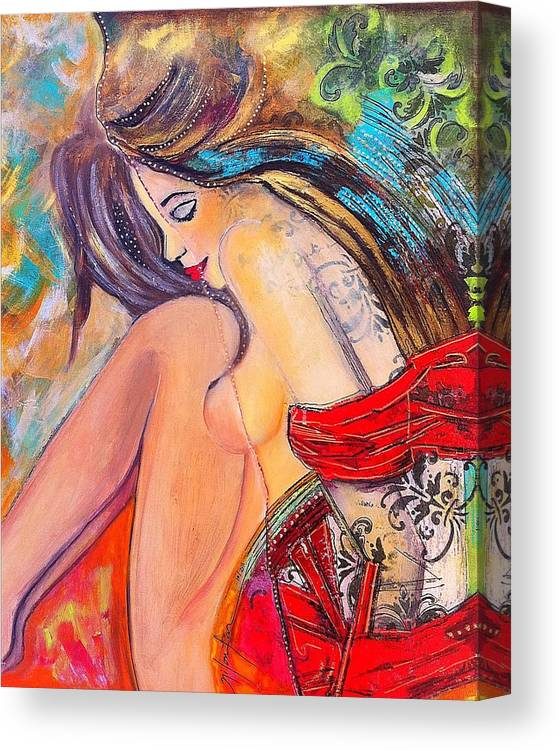 Nude Canvas Print featuring the painting Intangible Feeling by Niloufar Hoveyda