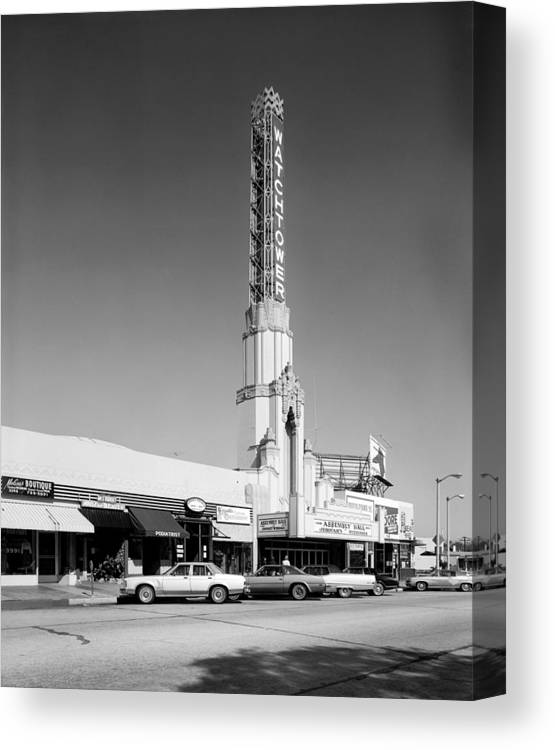 1970s Candids Canvas Print featuring the photograph Los Angeles, The Watchtower Theater by Everett